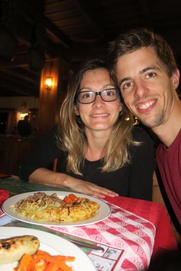 das Abendessen genossen wir im Restaurant, tradinionell Röstli mit Gulasche