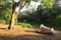 das Zelt von Karin und Markus direkt am Fluss