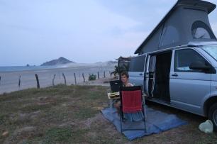 ein Übernachtungsplatz direkt am Meer in Salina Cruz