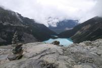 der Ausblick vom Geltscher auf die drei Joffre Lakes