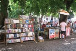 Ein Touristenmarkt mit alten Bücher und Gegenständen